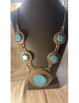 collier ancien Afghan  pierre turquoise