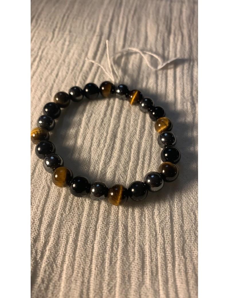 bracelet en pierres semi précieuses oeil de tigre,hematite & tourmaline noir