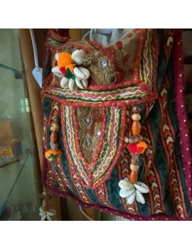 sac ancien tissu et miroir...
