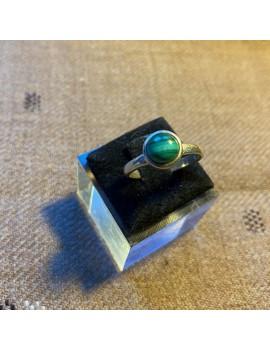 bague fine en argent & pierre semi-précieuse Malachite   (inde)