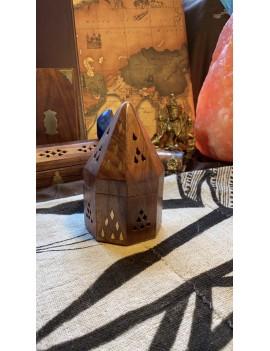 porte encens en bois & laiton spécial Cônes (Inde)